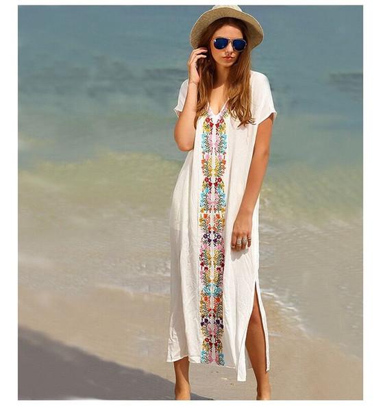 2019 Praia Verão Boho Vestido Mulher elegante vestido vintage Robe vestido Kaftan Praia Tampa Swimwear bordado acima do short Slee