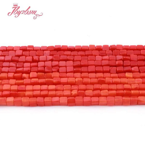 """3mm Coral Red Orange Square Smooth Beads Natural Stone Beads For DIY Necklace Bracelets Earring Jewelry Making 15"""" Free Shipping"""