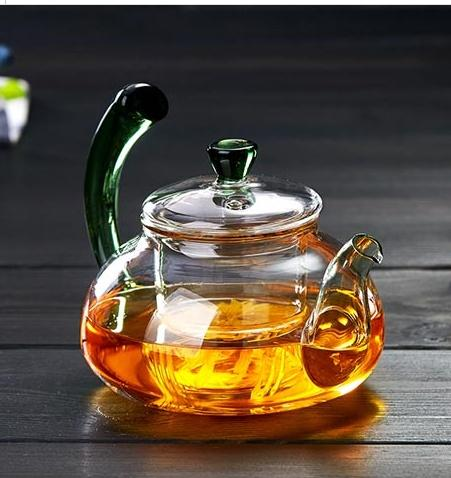 top popular Heat Resistant Glass Teapots With Filter And Warped Handle Flower Coffee Chinese Glass Tea Pot Blooming 2021