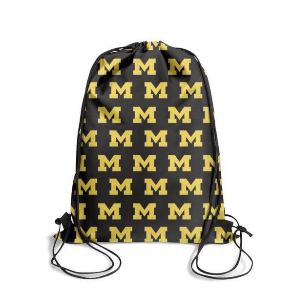 Michigan Wolverines LogoFashion sack belt backpack, design retro best adjustable string package, suitable for school