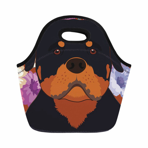 ThiKin Picnic Bag for Rottweiler Dog Portrait Printing Thermal Lunch Boxes for Women Cooling Insulation Bag Lunch Tote