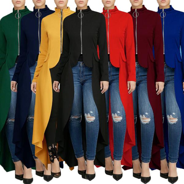2019 Explosion models long-sleeved high-neck slim zipper long skirt fake pocket irregular dress, support mixed batch