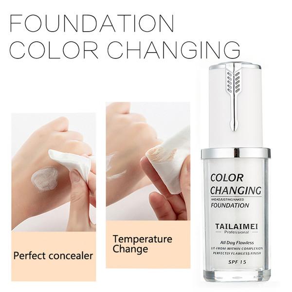 Fundação TLM 40 ml de Cor Mudando Base de Base Líquida Cosméticos Primer Tez Creme Corretivo de Cobertura de Maquiagem