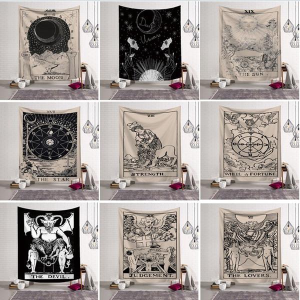 Duvar Asılı Goblen Şanslı Tarot Ortaçağ Kehanet Plaj Havlusu Şal Bohemian Yoga Mat Masa Örtüsü Polyester Goblen Ev Dekorasyonu