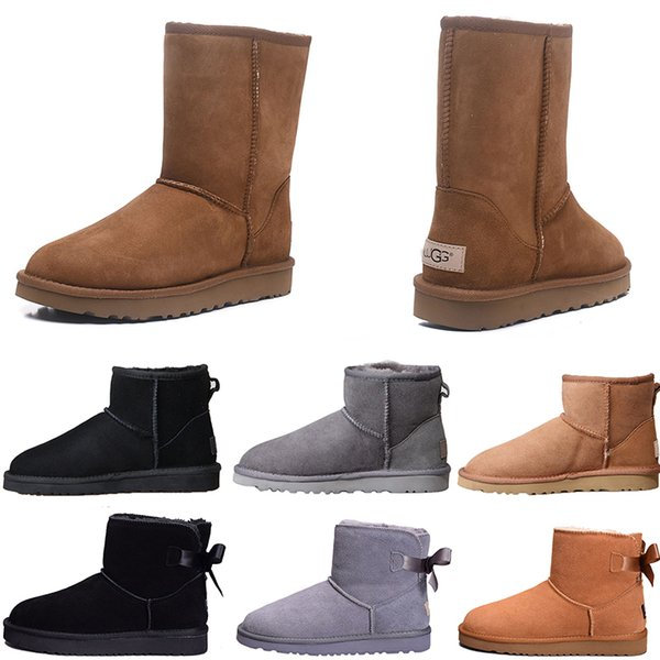 2019 Deal Preis Winter Australien warme Schnee Stiefel Mini Mode hohe Stiefel Schafe Bailey Bowknot Frauen Bailey Bogen Knie Stiefel Freies Verschiffen