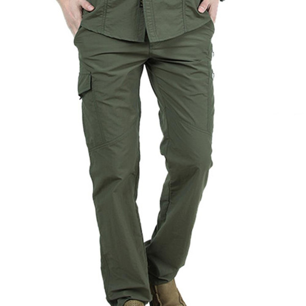 men outdoor climbing hiking multi-pockets solid color quick dry tactical pants fashion