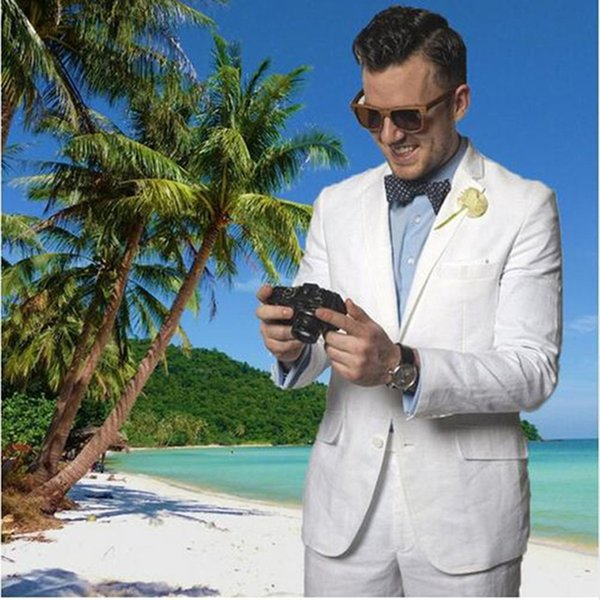 White Linen Uomini Suits Beach Wedding usura dello sposo smoking 2 Pezzi (Jacket + Pants) Slim Fit causale Sposo aggrada Uomo Blazer