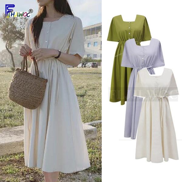 Vintage Cute Dresses Woman Summer Short Sleeve Bow Tie Slim Waist A Line Casual Korean Style Japan Design Cotton Dress 5623