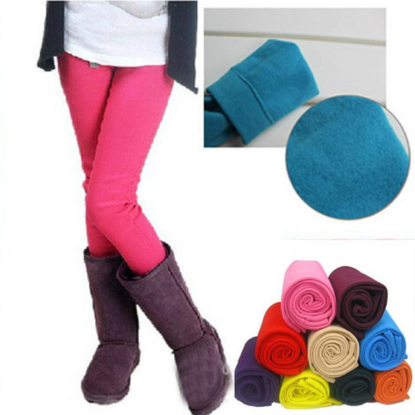Nice New Pop Fashion Kids Baby Girl Autumn Winter Warm Stretch Soft Thick Plus Fleece Velvet Candy Color Leggings Trousers Pants