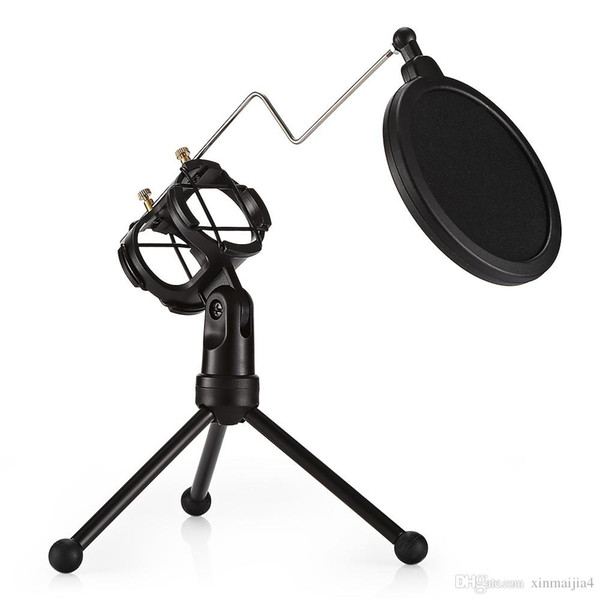 Desktop Microphone Holder Bracket with Double Pop Filter Stand Black Mic Stand Support