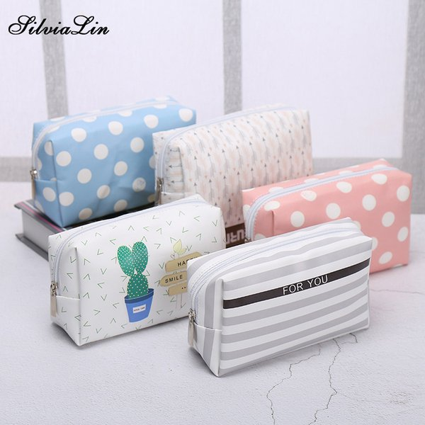 Travel PU Leather Cosmetic Bag Korean Small Organizer Women Makeup Bag Make up Case Toiletry Bags Beauty Storage Wash