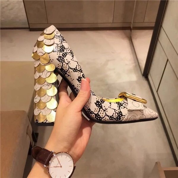 New Hot T Show Fish scales High heel Shoes Monk Strap Lady Mary Jane Dress Shoes