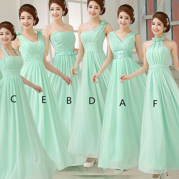 Mint Green Chiffon A Line Beach Bridesmaid Dresses 2019 Pleated Long Wedding Party Dress sukienki weselne