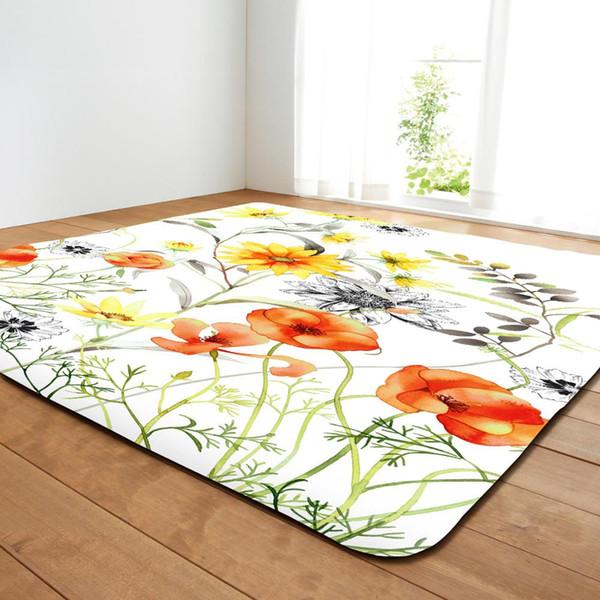 Nodic Art Colorful Flower Painting Print Carpet for Livingroom Bedroom Home Decor Area Rug Bedside Blanket Anti-Slip Floor Mat