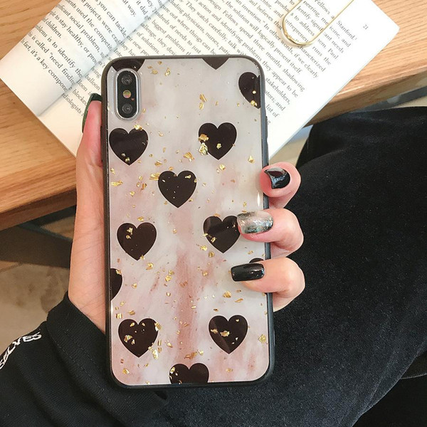 3D Vintage Heart Gold Phone Case for IPhone X XS MAX XR Cover for IPhone 8 7 6 S 6S Plus Soft Silicon Bumper Slim Shockproof Luxury Cases