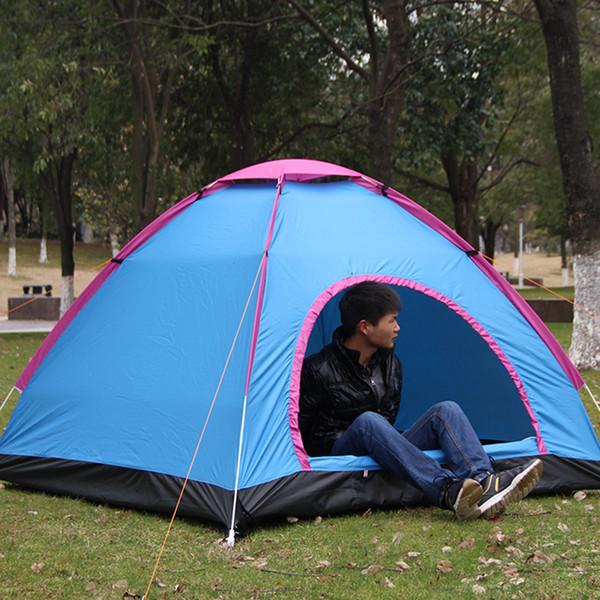 2-4 Personen-im Freien Automatische Zelte Oxford Cloth Blau Camping wasserdichte Zelte Strand Wandern Zelt mit Tragetasche New S30