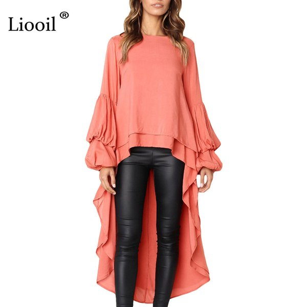 Liooil preto sopro manga maxi dress roupas femininas 2019 primavera o pescoço assimétrico alto baixo hem das mulheres sexy longo vestidos de festa y19053001
