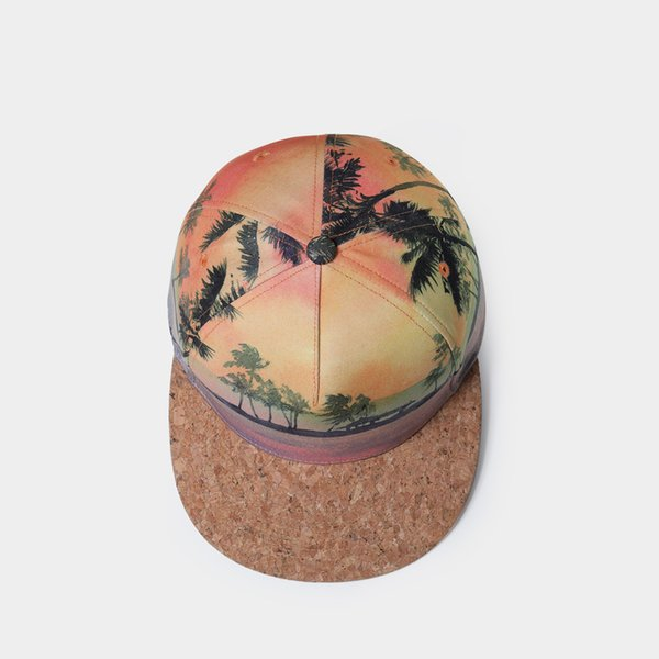 50pcs/3D Hat Spring Summer Baseball Cap For Men Women Couple Bone Cork Material 3D Printed Beach Snapback Personality Caps with dhl shipping