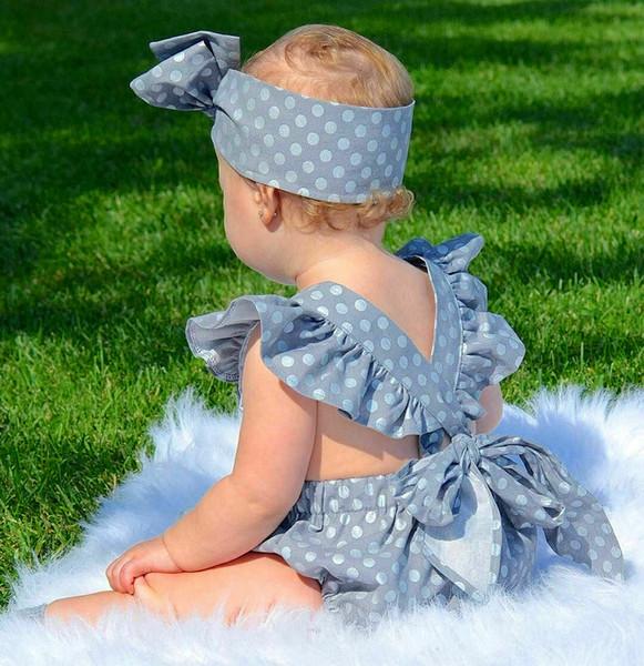 Linda niña de lunares mameluco bebé recién nacido algodón de manga corta con volantes Bowknot sin espalda mameluco verano traje informal conjunto de ropa