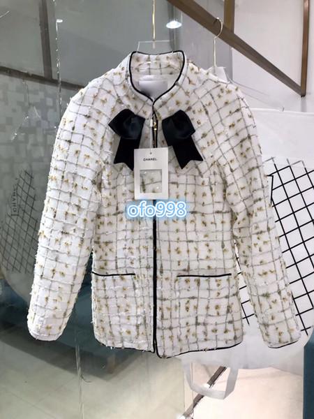 Haut de gamme femmes filles tweed à carreaux manteau équipage enck poches à manches longues élégant manteau court blouse femme un couleurs SML