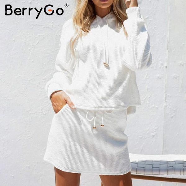 BerryGo из двух частей зашнуровать повседневный костюм платье женщины хлопок белый осень зима толстовка с капюшоном платье большого размера трикотажные