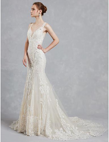 2019 new style V-neck mermaid wedding dresses sexy backless print new wedding dress beautiful wedding dress Robes De Mariee