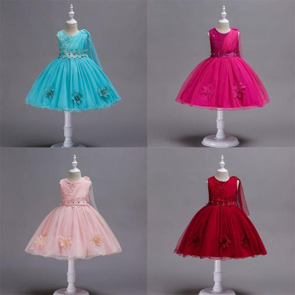 Baby Girl Princess Dress Flower Sash Bow Printed Gauze Sleeveless Kids Dresses Baby Girl Dresses Girls Vest Ball Gown Dress 2-9T