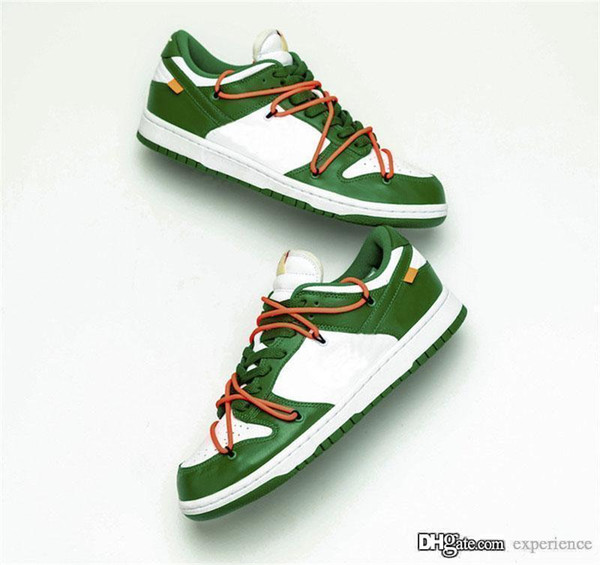 best selling 2019 Best Authentic OFF SB Dunk Low x White Leather Pine Green CT0856-100 University Gold University Red Men Women Running Shoes Sneakers