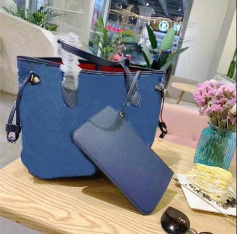 2 adet / takım 5A klasik Tasarımcı C bayan denim çanta bayanlar kompozit tuval tote PU deri debriyaj omuz çantaları kadın çanta ile cüzdan