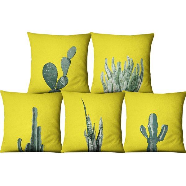 Succulent Plants Yellow Linen Cushion Covers 45x45 Cactus Flower Pattern Green Printed Sofa Throw Pillow Case for Car Home Decor