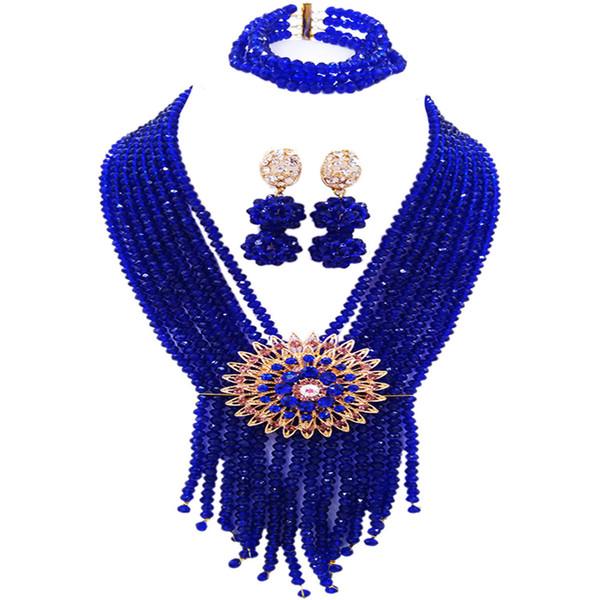 Royal Blue African Jewelry Set Crystal Beaded Nigerian Wedding Party Necklace Bracelet Earrings for Women 8SK09