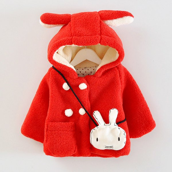 good quality Winter baby girls coat toddle kids children fleece thicken cute rabbit hoodies cotton jackets infant outwear coats