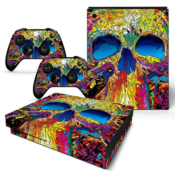 Skull Star Galaxy Leaf Style Vinyl Skin Sticker for Xbox One X Console and 2 Controller