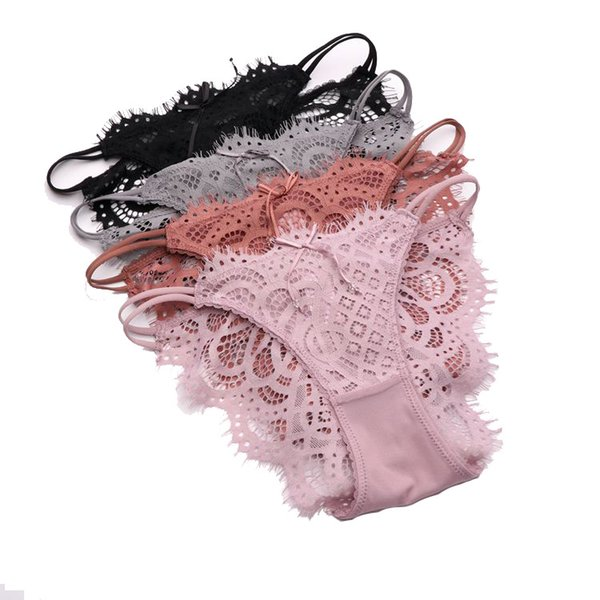 Women Erotic Sex Underwear Crotchless Panties No Trace High-end Briefs Lace Double Strip Erotic Thongs Wetlook Sexy T Pants Female String
