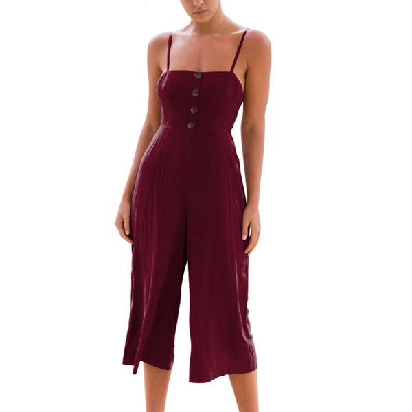 Womens Daily Summer Strappy Soild Button Long Trouser Playsuits Jumpsuit one piece for female Straight Bohemian Rompers Wine