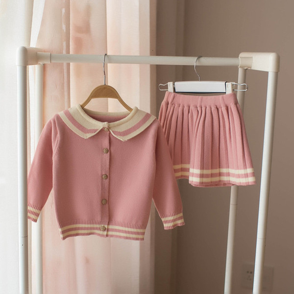 new 2019 Spring Toddlers Kids Clothing Sets Knitted Cardigan Sweater Pleated Skirt 2pcs Baby Girls Cute Outfits Children SuitsMX190916