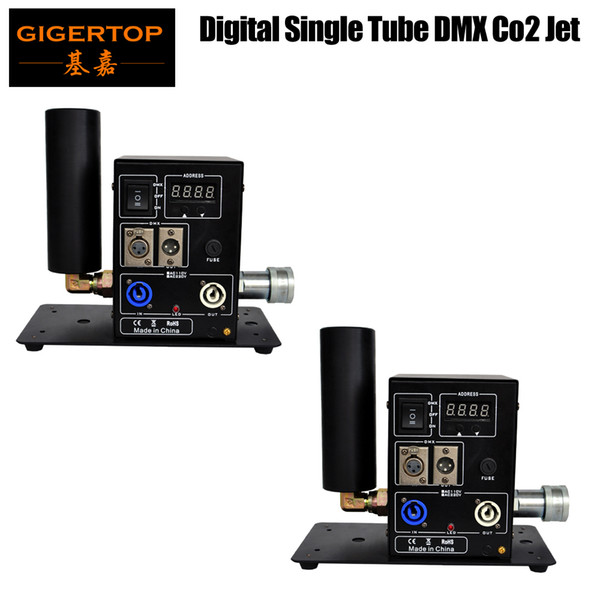 top popular Best Quality 2 x LOT Single Side Pipe Co2 Machine Portable Stage Effect Equipment Swing Jet LCD DMX Digital Address Setting Power in out Con 2021