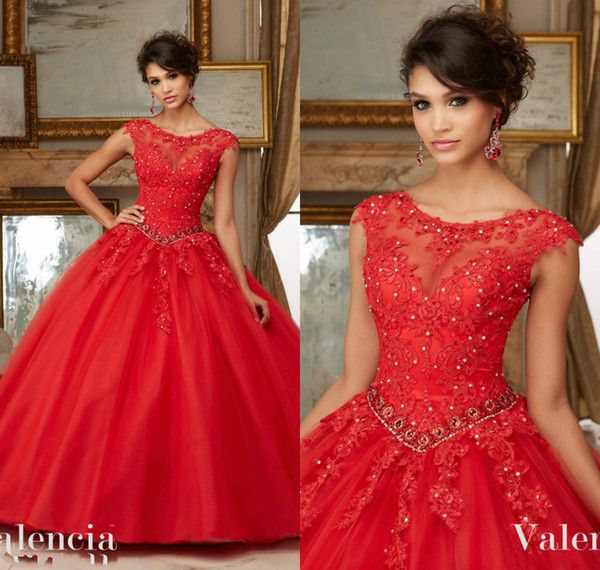 Beaded Red Quinceanera Dresses Cap Sleeve Jewel Neck Sweet 16 Masquerad Lace Appliqued Ball Gowns Tulle Debutante Ragazza Dress Lace Up Back Ball