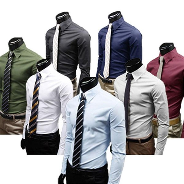 L-3XL Men's Luxury Long Sleeve Formal Business Shirts Casual Comercy Negotiation Shirts Slim Fit Plain Color Top