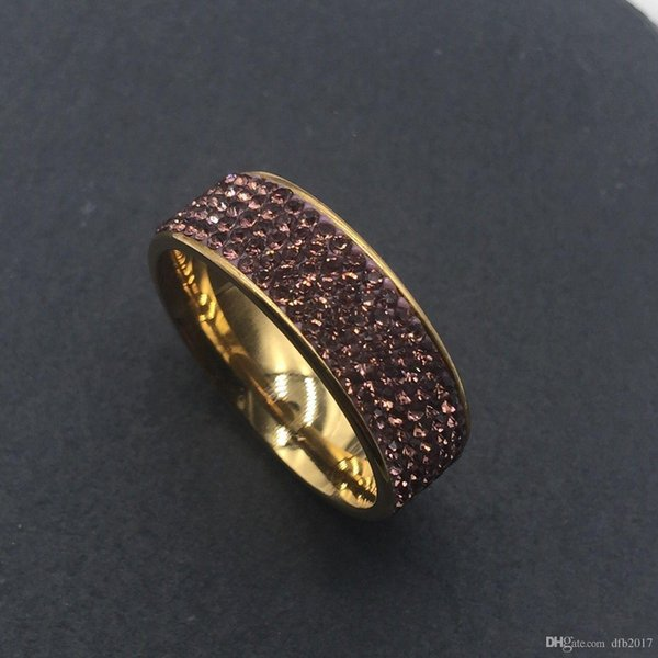 Nlm99Fashion Jewelry 8MM Stainless Steel RingTitanium 5 Rows purple Zircon Crystal Ring Finger Rings Band for Women Men gold Wedding Ring