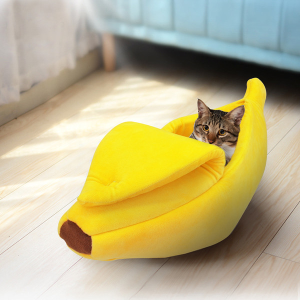 best selling Cute Banana Cat Bed House Warm Pet Puppy Banana Cushion Kennel Portable Pet Mat Beds For Cats Kitten Soft Cama Gato Pet Supplies