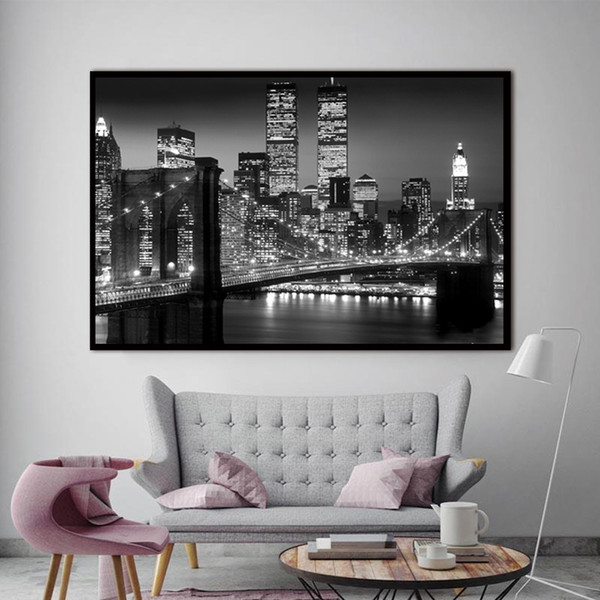 1 Piece New York Brooklyn Bridge Canvas Prints Painting Night City Landscape Art Picture For Living Room Wall Decor No Framed