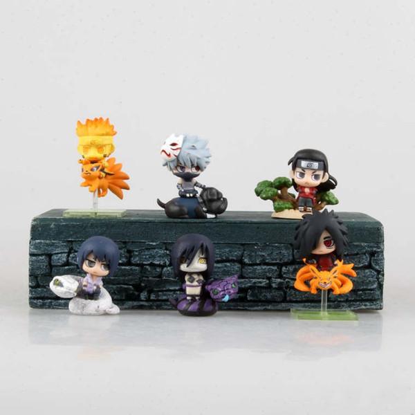 Anime Naruto Uzumaki Naruto Sasuke Kakashi Madara Orochimaru PVC Action Figure Collectible Model doll toy 5cm (6pcs/set) OPP