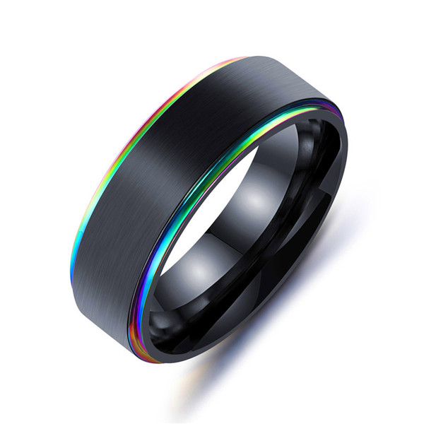 316L Titanium Steel ring luxury designer jewelry women rings mens jewelry rings engagement ring for women rainbow gold edge jewelry dropship