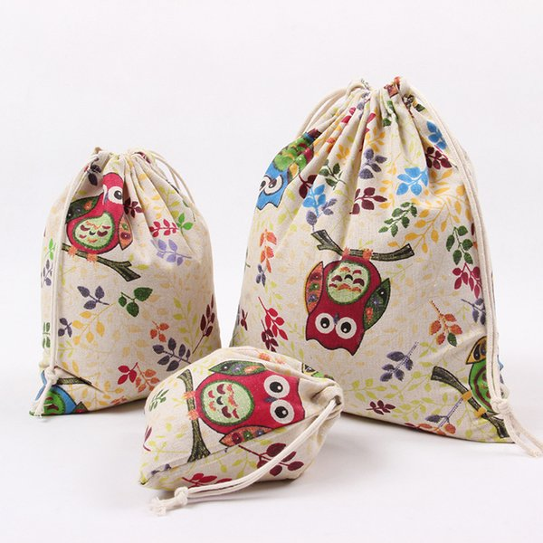 1pcs Lovely Owl Drawstring Cotton Linen Storage Bag Gift Candy Jewelry Organizer Makeup Cosmetic Coins keys Bags 49051