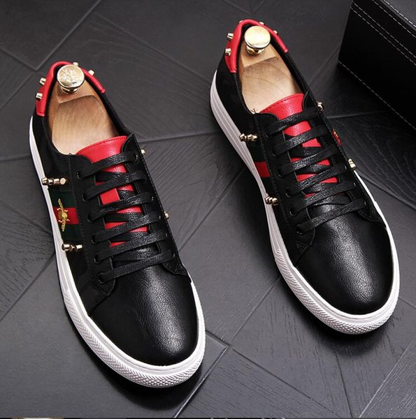 New Arrival Luxury Spikes Style Men Shoes Rivets Casual PU Leather Platform Mens Low Tops Lace Up High Quality Motorcycle Shoes Womens Loafers Mens
