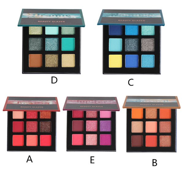 2019 Beauty Glazed 9 Color hudas Makeup Eyeshadow Pallete pinceles de maquillaje Paleta de maquillaje Paleta de sombras de ojos pigmentada