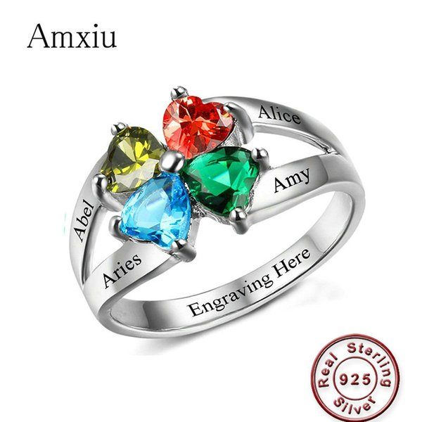 Amxiu Engrave Four Names 925 Sterling Silver Rings Jewelry Custom Heart Birthstones Rings For Family Friends Anniversary Rings