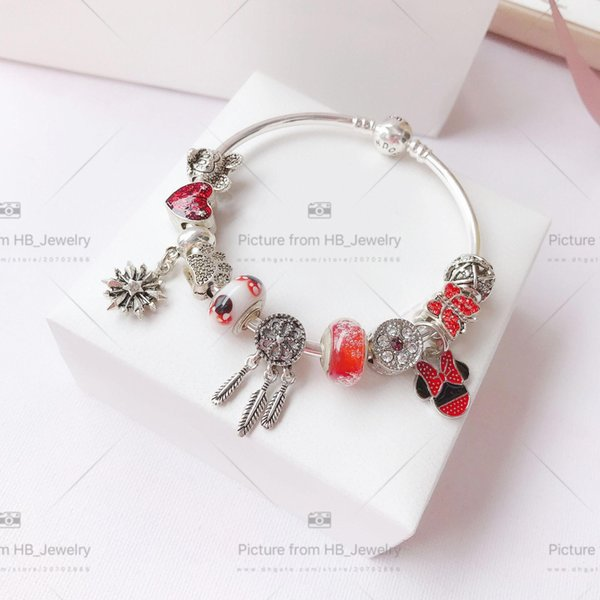 925 Sterling Silver Have stamps Pandora Snake Chain Design Bracelet Bangle for Women Party Wedding Luxury Jewelry Lovers gift
