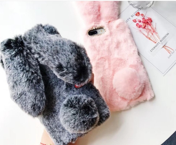 3D Rabbit ear soft Fur diamond cover Case For Iphone X 8 7 6 6S Plus 5C Samsung Galaxy Note 5 4 NOTE8 S7 S6 Edge S5 S4 s8 LLFA